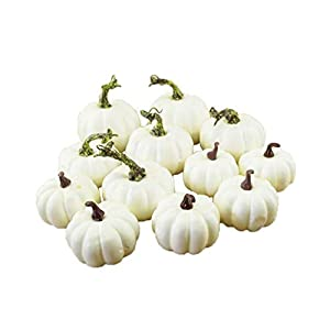 Silk Flower Arrangements AITELEI 12 Assorted Size Harvest Off White Artificial Pumpkins for Halloween, Fall and Thanksgiving Party Decoration