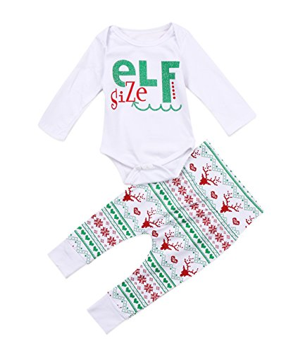 Baby Boy Girl Xmas Outfit Letter Print Long Sleeve Romper Merry Christmas Deer Pants Leggings -Miward (18-24 Months, Green)