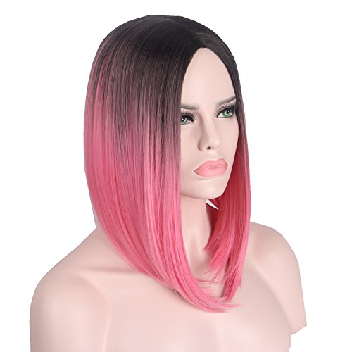 Short Wig Pink Red Hairs Synthetic Wigs for Women with Free Wig Cap Anxin Bob Wig Middle Part Full Head (28CM, Ombre -