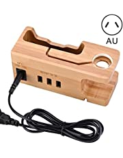 Portonss Bamboo Wooden Charging Dock Station, Apple Watch Stand, Cradle Holder, Bamboo Charger Holder Stand Compatible with iPhone Apple Watch