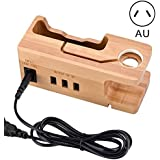 Portonss Bamboo Wooden Charging Dock Station, Apple Watch Stand, Cradle Holder, Bamboo Charger Holder Stand Compatible…