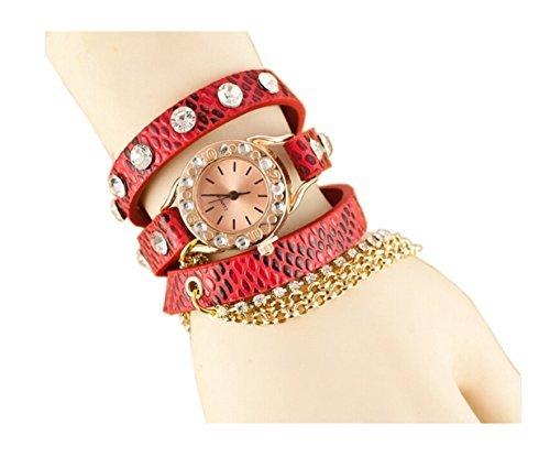 Dealzip Inc® Red Multi-layer PU Leather Strap Quartz Bracelet Fashion Rhinestone Chain Design