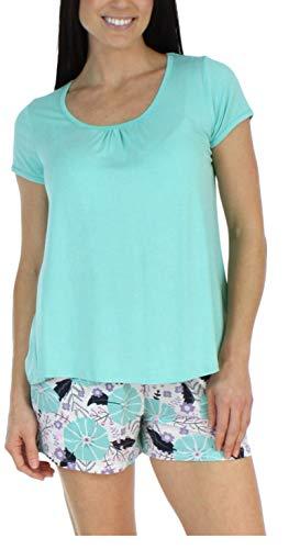 bSoft Women's Sleepwear Bamboo Jersey Spring Floral Short Sleeve Top and Shorts Pajama Set - Teal Top (BSBJ1831-1055S-LRG)