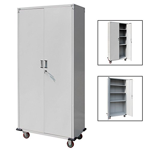 FCH Tall Mobile Stainless Steel Garage Organizer Storage Cabinet w/ Lockable Doors(Key Included) & 4 Adjustable Shelves & 4 Rolling Wheels Silver 35.4