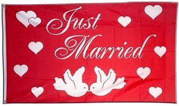 Fahne Flagge Just married Motiv Nr IV 90 x 150 cm