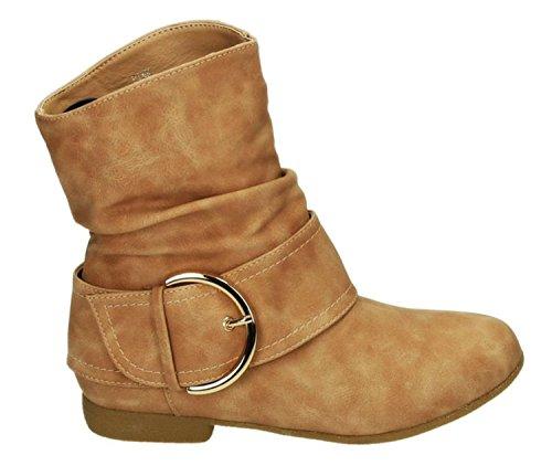 King Of Shoes Damen Stiefeletten Stiefel Boots Flache Schlupfstiefel Schnallen Winter Schuhe Warm Gefüttert 91-2 Pink