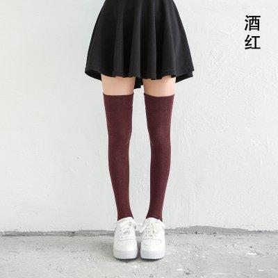 Maivasyy 3 paires de chaussettes long tube au-dessus du genou femme coton dans l'extrémité de la longue femme coton de couleur solide était demi Chaussettes, couleur rouge vin plat solide