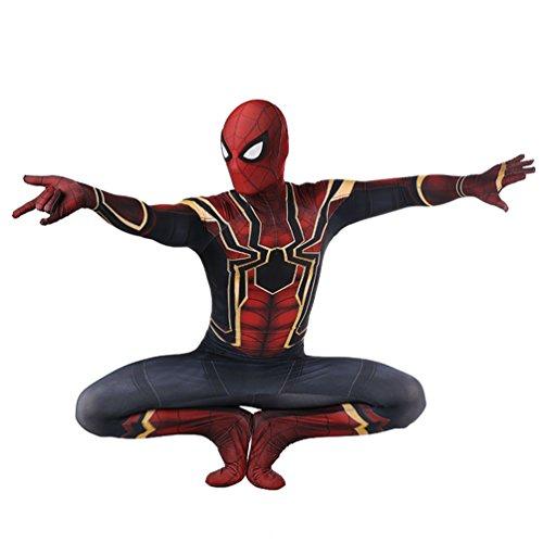 Xairx Spiderman Bodysuit Kids Superhero Fancy Party Halloween Costume (Spider Web On Face Halloween)
