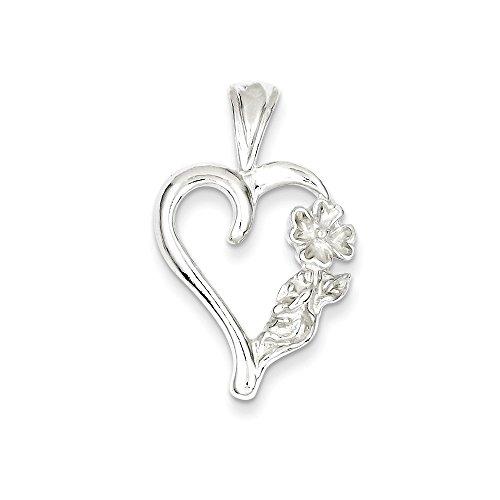 Mireval Sterling Silver Fancy Heart Charm (28 x 12mm) ()