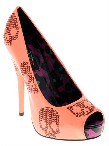 Iron Fist Sugar Hiccup Peep Toe Platform - punta abierta de cuero mujer Naranja - Neon Coral