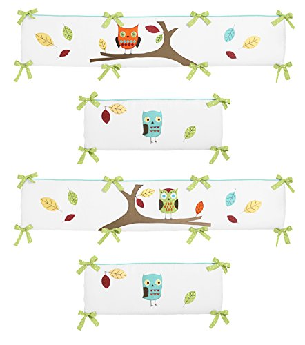 Lime 4 Piece Crib - Sweet Jojo Designs Turquoise and Lime Hooty Collection Crib Bumper