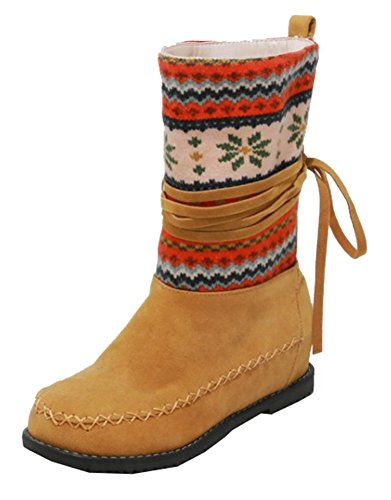 Heels Pull Faux Yellow Mid Suede Women's Print Retro SHOWHOW Tassel Booties Hidden Knee On High wI4q8fzn