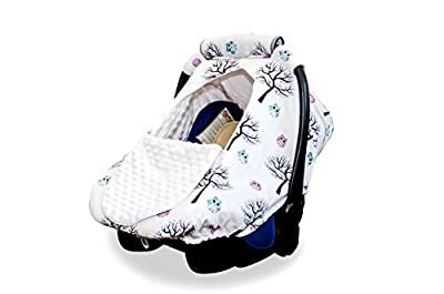 Baby Car Seat Covers by BabyCG - Carseat Canopy for All Seasons Boy or Girl Made of 100% Cotton Windproof, Breathable and Adjustable with Peep Window| Handle Included