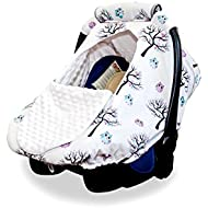 Baby Car Seat Covers by BabyCG - Carseat Canopy for All Seasons Boy or Girl Made of 100% Cotton Windproof, Breathable and Adjustable with Peep Window  Handle Included