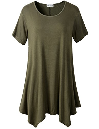 LARACE Womens Swing Tunic Tops Loose Fit Comfy Flattering T Shirt (2X, Army Green)