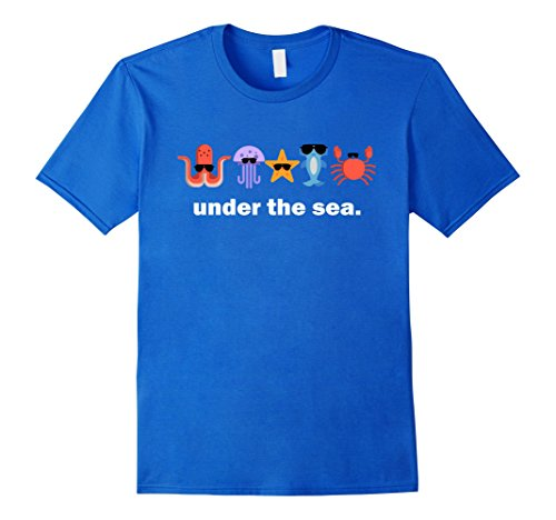 Men's Sea Animals Sunglasses T-Shirt Octopus Shark Crab Star Fish  XL Royal Blue