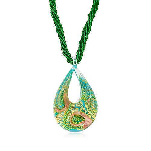 - Ross-Simons Italian Murano Glass Six-Strand Bead Necklace in 18kt Gold Over Sterling