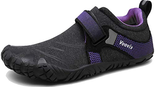 Voovix Mens Womens Minimalist Barefoot Shoes Outdoor Trail Running Shoes Wide Toe Box for Gym Walking Hiking(Black/Purple,39)