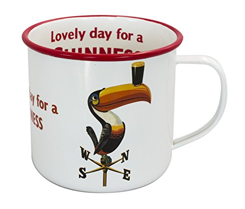 - Enamel Toucan On Weathervane Design Mug with Lovely Day for a Guinness