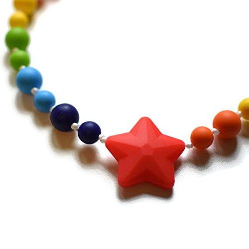 Star Silicone Oral Sensory Autism Chewable Chew Necklace 20'' - Bitey Beads (rainbow star)
