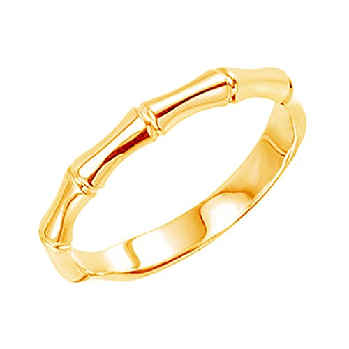 Bamboo Zen 2.5mm 14k Yellow Gold Stackable Ring, Size 5 by The Men's Jewelry Store (for HER)