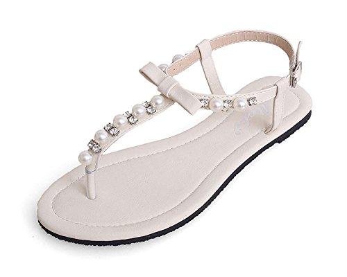 Damen Strand Flach Sandalen Zehentrenner Sommerschuhe T-Strap Thong Sandalen Mit Strasssteine Weiß