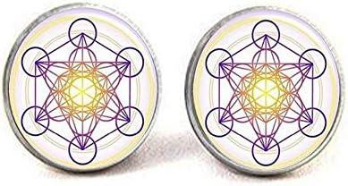 [해외]Metatron`s Cube Pendant Hexagram Sacred Geometry Necklace Geometric Jewelry for Men Chakra Necklace Dance Recital Earrings Literary Jewelry / Metatron`s Cube Pendant Hexagram Sacred Geometry Necklace Geometric Jewelry for Men Chakr...
