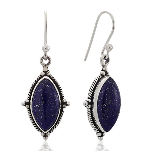 Sterling Silver Lapis Lazuli Gemstone Vintage Marquise Shape Rope Edge Dangle Hook Earrings (Lapis Rope Earrings)