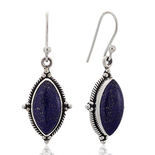 Sterling Silver Lapis Lazuli Gemstone Vintage Marquise Shape Rope Edge Dangle Hook Earrings (Lapis Rope Earrings)