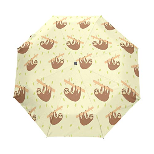 Umbrella Sloth And Baby Golf Travel Sun Rain Windproof Auto umbrellas with UV Protection for Girls Boys Kids ()