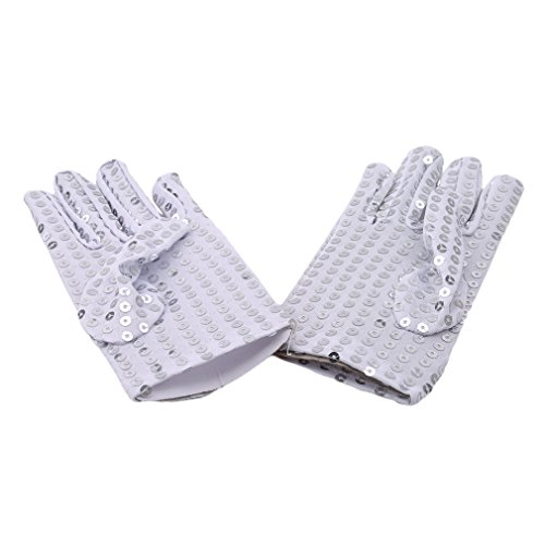 DONGMING Michael Jackson Costume Gloves Children Dress Up Dance Ice Skating Party Sparkling Sequin Gloves Cosplay Halloween Gloves,Silver