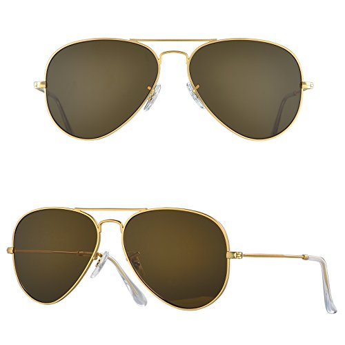 BNUS Corning natural glass New aviator Sunglasses Italy made with Polarized Choices (Frame: Matte Gold / Lens: Brown B15, - Italy Sunglass