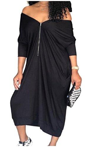 Nero Tasche Hip Hop Off Coolred donne 4 Pullover Vestito Irregolare Manica Spalla 3 vfc5q