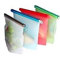 AUXIN,Reusable Silicone Food Storage Bag【Set of 4】2 Large 1500ml and 2 Medium 1000ml Capacity,Perfect Seal any Liquid,Keep Sea Food/Meat/Sandwich/Fruit/Vegetable/Soup/Juice/Milk Fresh and Safe in Refrigerator or Lunch Bag,FDA Food Grade,Eco-friendly