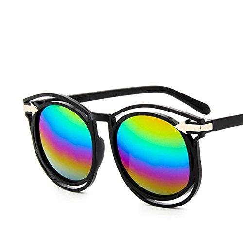 Lunettes de Soleil Fashion Ladies Retro Sunglasses , Film en Poudre Noir Brillant