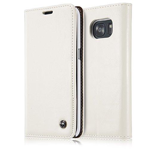 GR Para Samsung Galaxy S7 Edge Cartera de cuero de la PU Diseño magnético Estilo de negocios de lujo Color sólido Flip Premium Folio Funda protectora con Ranura para tarjeta / Soporte ( Color : Black  White