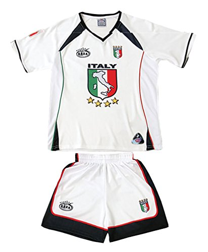 - Italy Arza Youth Soccer Uniform (6, White)
