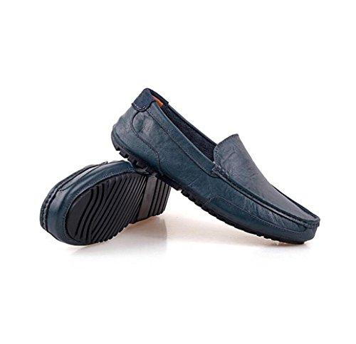 Hommes Lerther Chaussures Porter Vêtements De Cérémonie Porter Rond Souple Pointy Ceinture Boucle Coton Fond Plat Jeunesse Blue zzWSnThR