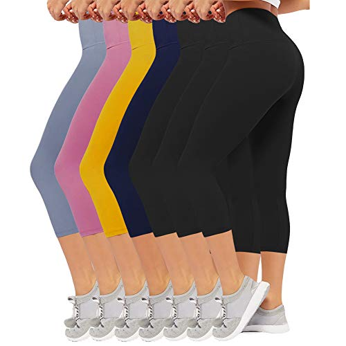 - CAMPSNAIL High Waisted Capri Leggings Plus Size Yoga Pants for Women Tummy Control Soft Workout Womens Capri Leggings