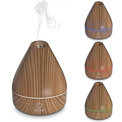 PureSpa Natural Aromatherapy Oil Diffuser - Ultrasonic Mister with 200 ml Water Tank, Wood-grain Accents and Soft Color-changing Lights