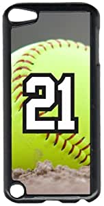 Softball Sports Fan Player Number 21 Black Plastic Decorative iPod iTouch 5th Generation Case