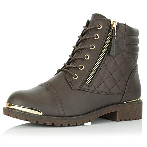 DailyShoes Women's Military Lace Up Buckle Combat Boots Ankle High Exclusive Credit Card Pocket Frontal Metal Bootie, Brown PU, 9 B(M) ()