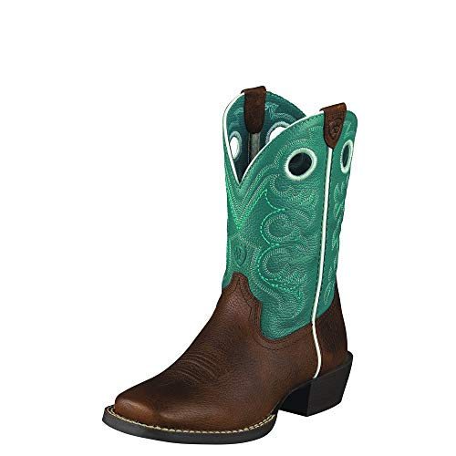 Kids' Crossfire Western Boot (Toddler/Little Kid/Big Kid),Brown Oiled Rowdy/Turquoise,6 M US Big Kid (Boots Turquoise Cowgirl And Brown)