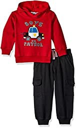 Kids Headquarters Little Boys\' Toddler Fleece Hoody with Cargo Pants Set, Red, 2T