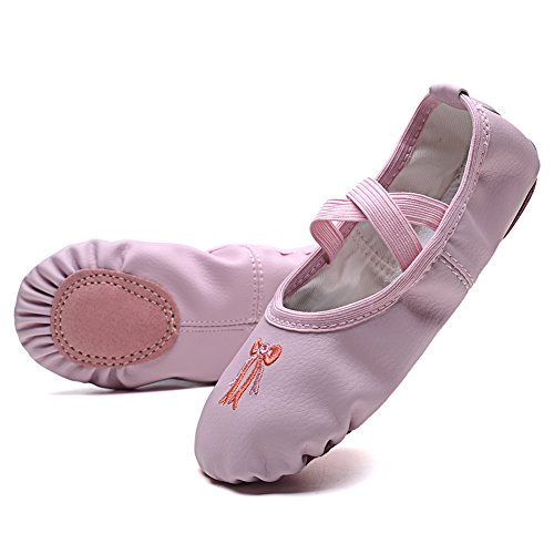 KONHILL Leather Ballet Dance Shoes Slippers Flat Gymnastics Yoga Shoes Girls (Toddler/Little Kid/Big Kid/Adult), Pink, (Slippers Outfit)