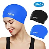 Aegend Swim Caps for Long Hair (2 Pack), Durable Silicone Swimming Caps with Spacious Space for Women Men Adults, Easy to Put On and Off, 3 Colors