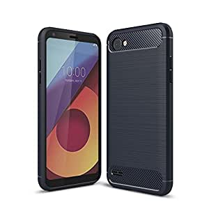 For LG Q6 Carbon Fiber Hybrid Heavy Duty Tough Strong Shockproof Case Cover (Navy Blue)