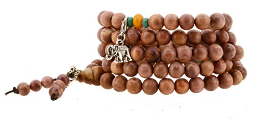 108 Tibetan Cedar Yoga Meditation Prayer Beads Mala Necklace Wrap Bracelet (Wooden Monk Beads)