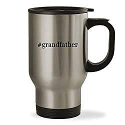 #grandfather - 14oz Hashtag Sturdy Stainless Steel Travel Mug, Silver
