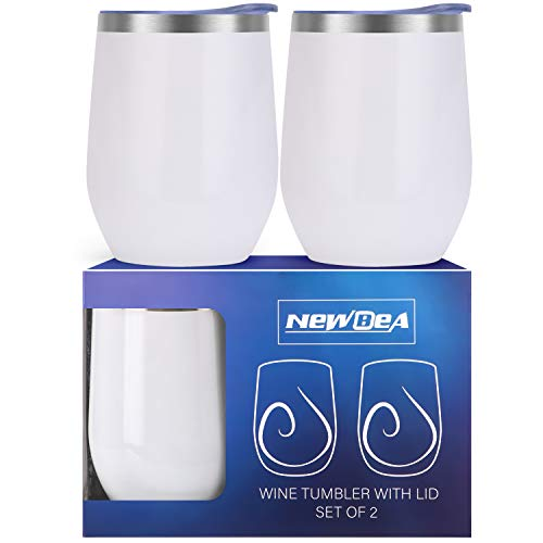 NEWBEA 2pcs Wine Tumbler with Lid, 12 Oz Double Wall Vacuum Insulated Stemless Glass, Stainless Steel Wine Cup for Wine, Coffee, Drinks, Champagne, Cocktails - Best Christmas Gifts from NEWBEA